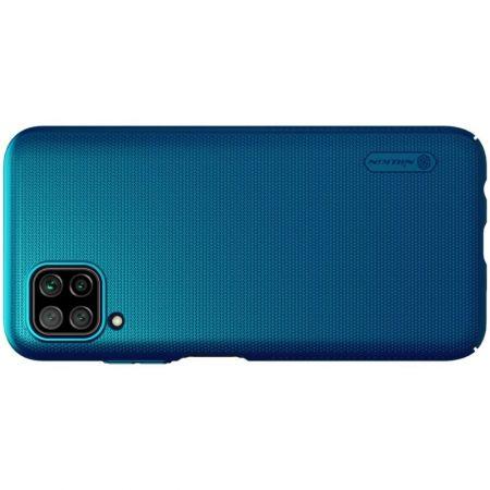 Пластиковый нескользящий NILLKIN Frosted кейс чехол для Huawei P40 Lite Синий + подставка