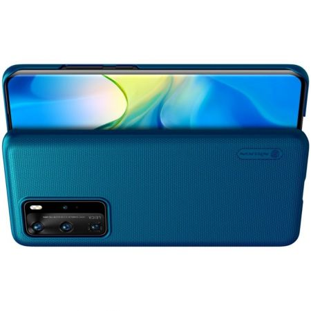 Пластиковый нескользящий NILLKIN Frosted кейс чехол для Huawei P40 Pro Синий + подставка