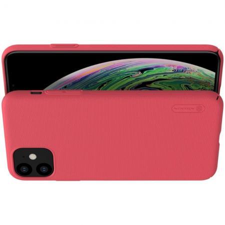 Пластиковый нескользящий NILLKIN Frosted кейс чехол для iPhone 11 Красный + подставка
