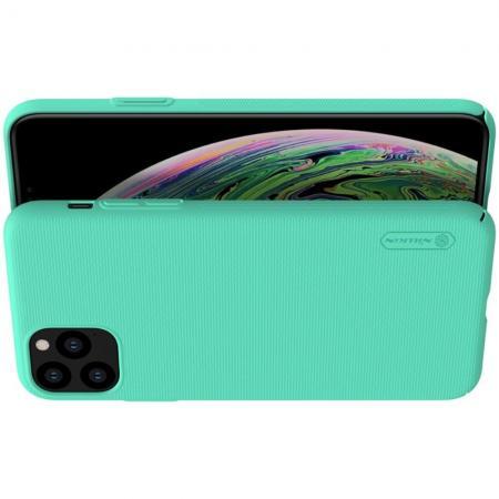 Пластиковый нескользящий NILLKIN Frosted кейс чехол для iPhone 11 Pro Max Зеленый + подставка