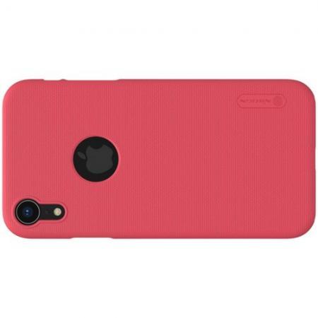 Пластиковый нескользящий NILLKIN Frosted кейс чехол для iPhone XR Красный + защитная пленка