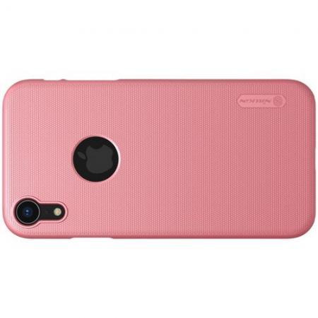 Пластиковый нескользящий NILLKIN Frosted кейс чехол для iPhone XR Розовый + защитная пленка