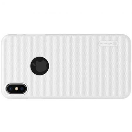 Пластиковый нескользящий NILLKIN Frosted кейс чехол для iPhone XS Max Белый + защитная пленка