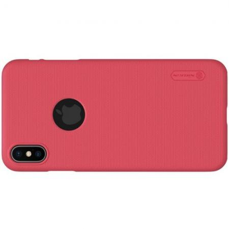 Пластиковый нескользящий NILLKIN Frosted кейс чехол для iPhone XS Max Красный + защитная пленка
