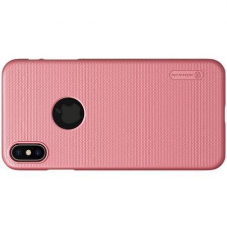 Пластиковый нескользящий NILLKIN Frosted кейс чехол для iPhone XS Max Розовый + защитная пленка