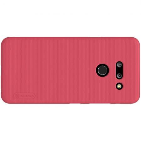 Пластиковый нескользящий NILLKIN Frosted кейс чехол для LG G8 ThinQ Красный + подставка