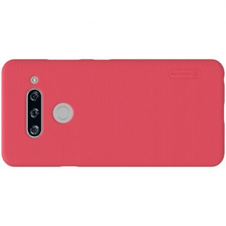 Пластиковый нескользящий NILLKIN Frosted кейс чехол для LG V40 ThinQ Красный + защитная пленка