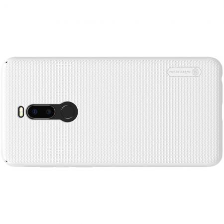 Пластиковый нескользящий NILLKIN Frosted кейс чехол для Meizu Note 8 Белый + защитная пленка