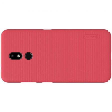 Пластиковый нескользящий NILLKIN Frosted кейс чехол для Nokia 3.2 Красный + подставка