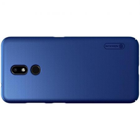 Пластиковый нескользящий NILLKIN Frosted кейс чехол для Nokia 3.2 Синий + подставка