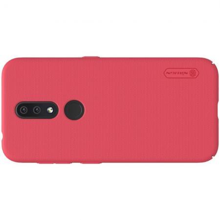 Пластиковый нескользящий NILLKIN Frosted кейс чехол для Nokia 4.2 Красный + подставка