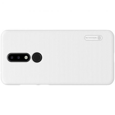 Пластиковый нескользящий NILLKIN Frosted кейс чехол для Nokia 5.1 Plus Белый + защитная пленка