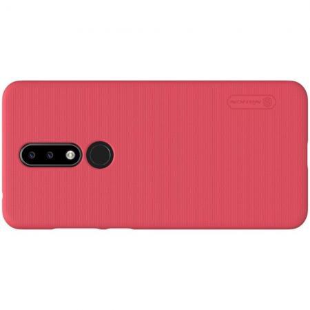 Пластиковый нескользящий NILLKIN Frosted кейс чехол для Nokia 5.1 Plus Красный + защитная пленка