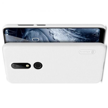 Пластиковый нескользящий NILLKIN Frosted кейс чехол для Nokia 6.1 Plus Белый + защитная пленка