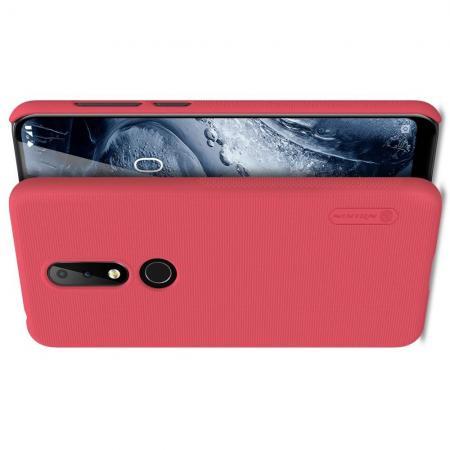 Пластиковый нескользящий NILLKIN Frosted кейс чехол для Nokia 6.1 Plus Красный + защитная пленка