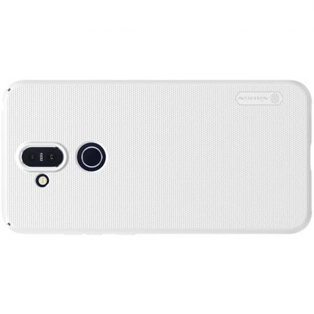 Пластиковый нескользящий NILLKIN Frosted кейс чехол для Nokia 8.1 Белый + защитная пленка