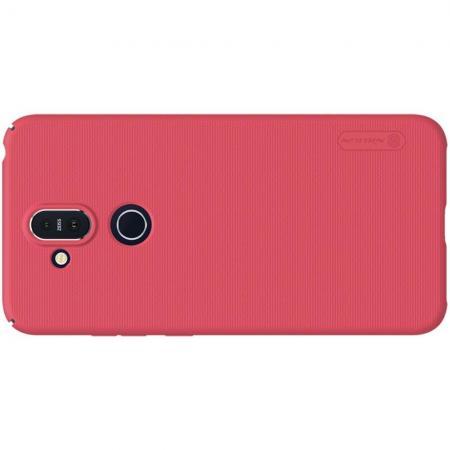 Пластиковый нескользящий NILLKIN Frosted кейс чехол для Nokia 8.1 Красный + защитная пленка