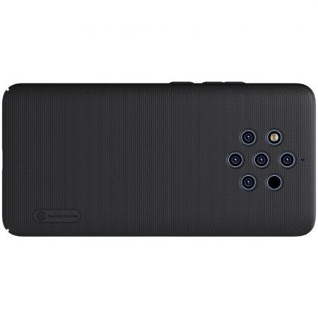 Пластиковый нескользящий NILLKIN Frosted кейс чехол для Nokia 9 PureView Черный + подставка