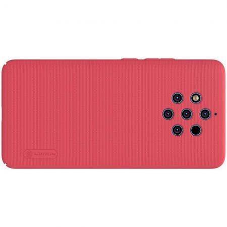 Пластиковый нескользящий NILLKIN Frosted кейс чехол для Nokia 9 PureView Красный + подставка