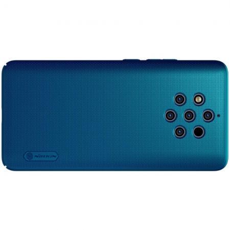 Пластиковый нескользящий NILLKIN Frosted кейс чехол для Nokia 9 PureView Бирюзовый + подставка