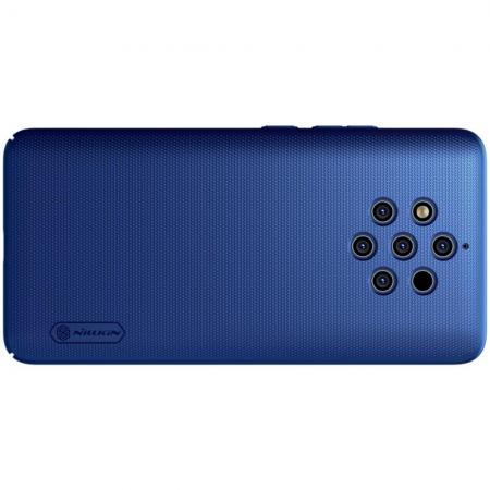 Пластиковый нескользящий NILLKIN Frosted кейс чехол для Nokia 9 PureView Синий + подставка