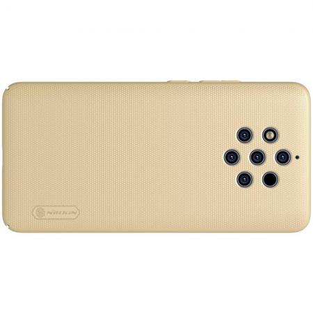 Пластиковый нескользящий NILLKIN Frosted кейс чехол для Nokia 9 PureView Золотой + подставка