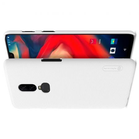 Пластиковый нескользящий NILLKIN Frosted кейс чехол для OnePlus 6 Белый + защитная пленка