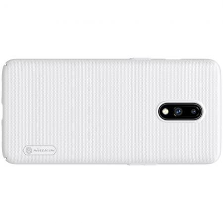Пластиковый нескользящий NILLKIN Frosted кейс чехол для OnePlus 7 Белый + подставка