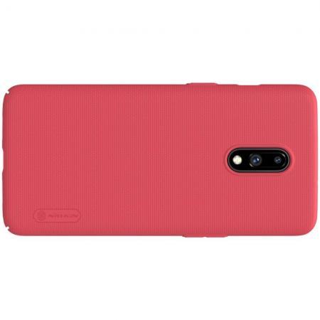 Пластиковый нескользящий NILLKIN Frosted кейс чехол для OnePlus 7 Красный + подставка