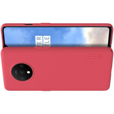 Пластиковый нескользящий NILLKIN Frosted кейс чехол для OnePlus 7T Красный + подставка