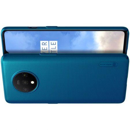 Пластиковый нескользящий NILLKIN Frosted кейс чехол для OnePlus 7T Синий + подставка