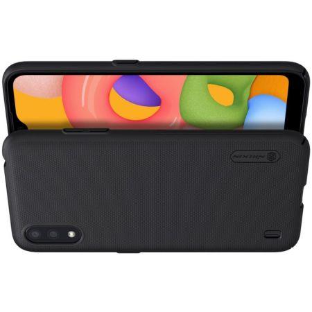 Пластиковый нескользящий NILLKIN Frosted кейс чехол для Samsung Galaxy A01 Черный + подставка