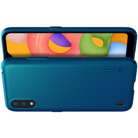 Пластиковый нескользящий NILLKIN Frosted кейс чехол для Samsung Galaxy A01 Синий + подставка