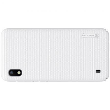 Пластиковый нескользящий NILLKIN Frosted кейс чехол для Samsung Galaxy A10 Белый + подставка