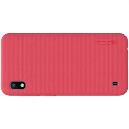 Пластиковый нескользящий NILLKIN Frosted кейс чехол для Samsung Galaxy A10 Красный + подставка