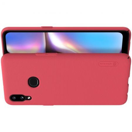 Пластиковый нескользящий NILLKIN Frosted кейс чехол для Samsung Galaxy A10s Красный + подставка