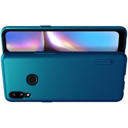 Пластиковый нескользящий NILLKIN Frosted кейс чехол для Samsung Galaxy A10s Синий + подставка