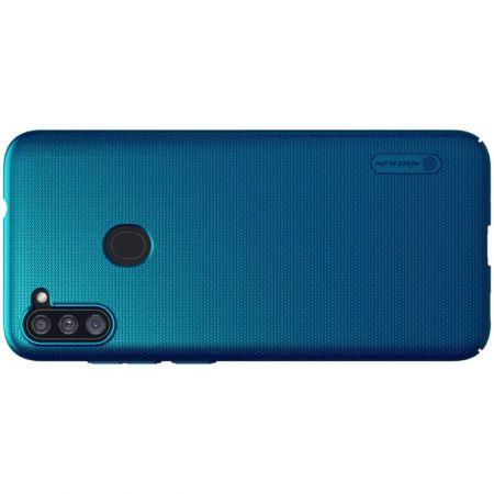 Пластиковый нескользящий NILLKIN Frosted кейс чехол для Samsung Galaxy A11 Синий + подставка