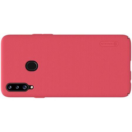 Пластиковый нескользящий NILLKIN Frosted кейс чехол для Samsung Galaxy A20s Красный + подставка
