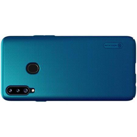Пластиковый нескользящий NILLKIN Frosted кейс чехол для Samsung Galaxy A20s Синий + подставка