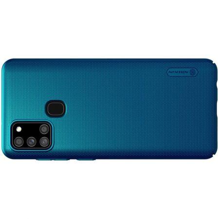 Пластиковый нескользящий NILLKIN Frosted кейс чехол для Samsung Galaxy A21s Синий + подставка