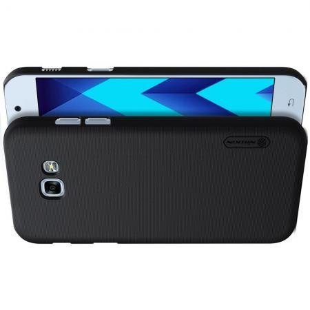 Пластиковый нескользящий NILLKIN Frosted кейс чехол для Samsung Galaxy A3 2017 SM-A320F Черный + подставка