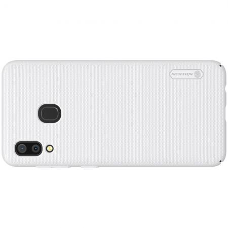 Пластиковый нескользящий NILLKIN Frosted кейс чехол для Samsung Galaxy A30 / A20 Белый + подставка