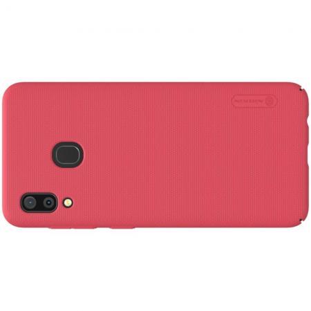Пластиковый нескользящий NILLKIN Frosted кейс чехол для Samsung Galaxy A30 / A20 Красный + подставка