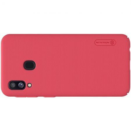 Пластиковый нескользящий NILLKIN Frosted кейс чехол для Samsung Galaxy A40 Красный + подставка