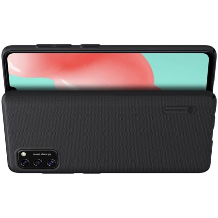 Пластиковый нескользящий NILLKIN Frosted кейс чехол для Samsung Galaxy A41 Черный + подставка