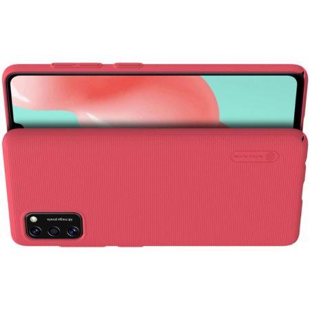 Пластиковый нескользящий NILLKIN Frosted кейс чехол для Samsung Galaxy A41 Красный + подставка