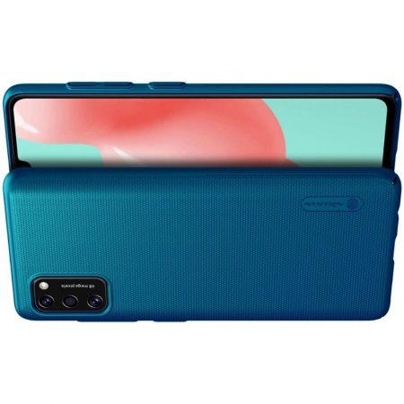 Пластиковый нескользящий NILLKIN Frosted кейс чехол для Samsung Galaxy A41 Синий + подставка