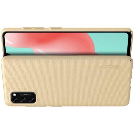 Пластиковый нескользящий NILLKIN Frosted кейс чехол для Samsung Galaxy A41 Золотой + подставка