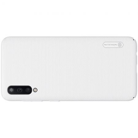 Пластиковый нескользящий NILLKIN Frosted кейс чехол для Samsung Galaxy A50 Белый + подставка